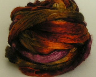 Silk Top Roving Sliver Mulberry cultivated Fiber HARVEST HOME Luxurious Supreme Quality Hand Painted for Handspinning 2 oz