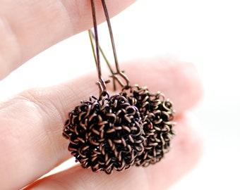 Copper Earrings, Mixed Metal Earrings, Tangled Earrings, Chrysanthemum Earrings, Rustic Earrings, Cottage Chic, Dangle, Jewelry Under 25
