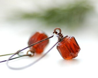 Topaz Glass Earrings, Amber Glass Earrings, Dangle Earrings, Simple Earrings, Cinnamon Earrings, Glass Jewelry - Holiday Lantern