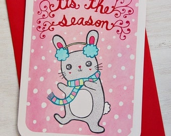 Christmas Card - Tis the Season Bunny Rabbit - Holiday Notecard