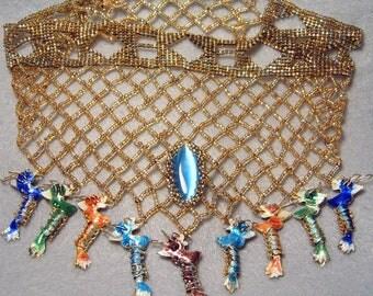 Nine Dragons Collar, beadwoven bib/choker/necklace