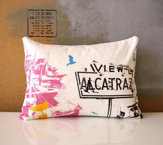LAST CHANCE SALE / San Francisco Pillow - Urban Throw Style no24 - View Alcatraz