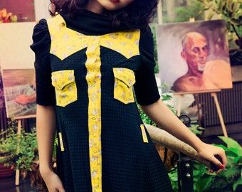 Japanese Fashion Harajuku Decora Girl KPop Kawaii Cowgirl Yellow Mellow Kitty Dress by Janice Louise Miller