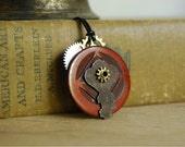 Vintage Button Necklace with Rusty Key Steampunk Jewelry Pendant Necklace