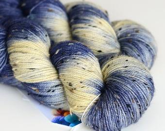 Starry Starry Night - Tweed Yarn - Hand Dyed Sock Yarn - Dark Blue and Cream - Van Gogh