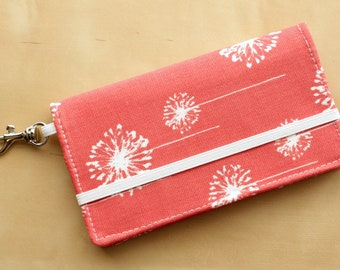iPhone Wallet - Cell Phone Wallet Case- Coral Dandelion Print - Smart Phone Case
