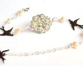 Sale - Button Bracelet - Peach Vintage Buttons Jewelry - Brass Rhinestone Sparrow
