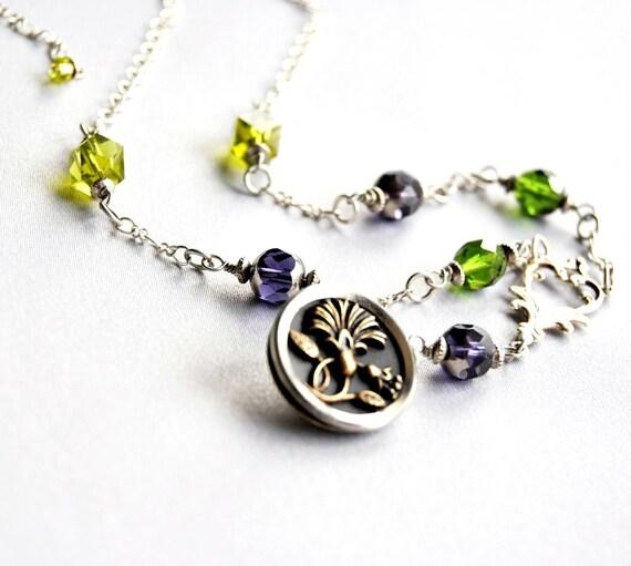 Button Necklace Olive Filigree Victorian Purple Antique Buttons 1800s Lotus Blooms Flower Necklace