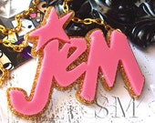 Jem Is Truly Outrageous - laser cut acrylic necklace, kitsch Barbie 80's - EssemDesign