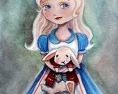 Alice in Wonderland holding white rabbit watercolor painting art print