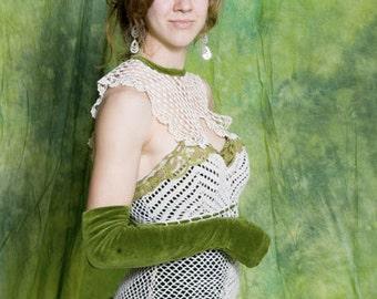 Kelly Green Velvet  Lace  Dress