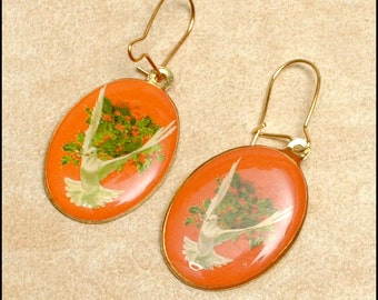 Pair of Religious Pierced Earrings Confirmation - Holy Spirit with dove and olive branch