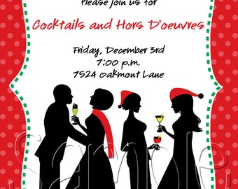 25 5x7 Silhouette Holiday Christmas Cocktail Party Invitations