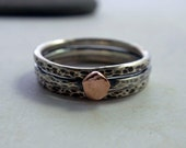 14K Rose Gold and Oxidized Sterling Silver Hammered Stacking Ring Band Set of Three