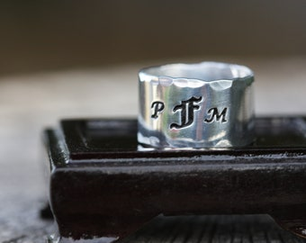 Monogram initial ring - hand stamped personalized adjustable aluminum ring