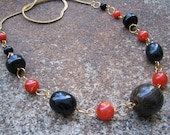 Eco-Friendly Statement Necklace - Air of Mystery - Recycled Vintage Herringbone Chain and Chunky Beads in Black and Spice