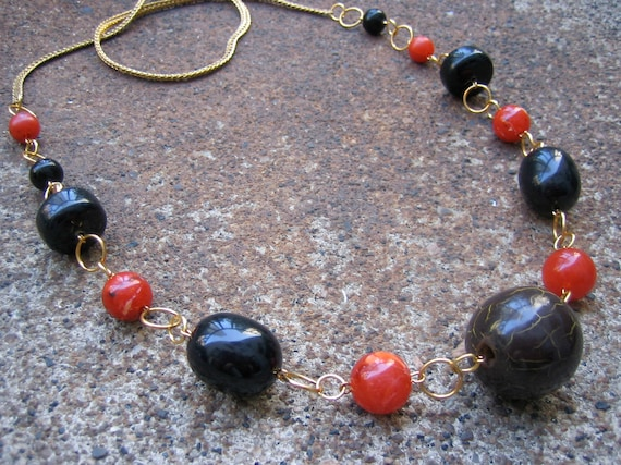 Eco-Friendly Statement Necklace - Air of Mystery - Recycled Vintage Herringbone Chain and Chunky Beads in Black and Paprika Spice