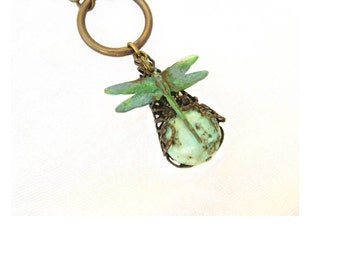Hand Painted Dragonfly Genuine Turquoise Stone - Wrapped in Filigree Necklace  - Antique Brass - Neo Victorian