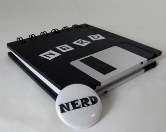 Computer Floppy Disk Notebook Original Nerd Recycled Blank Floppy Disk Mini Notebook in Black with 1 inch NERD Pin