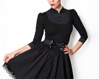 ABIGAIL-01 Solid Black Waist-Skirt with Lace XS-L