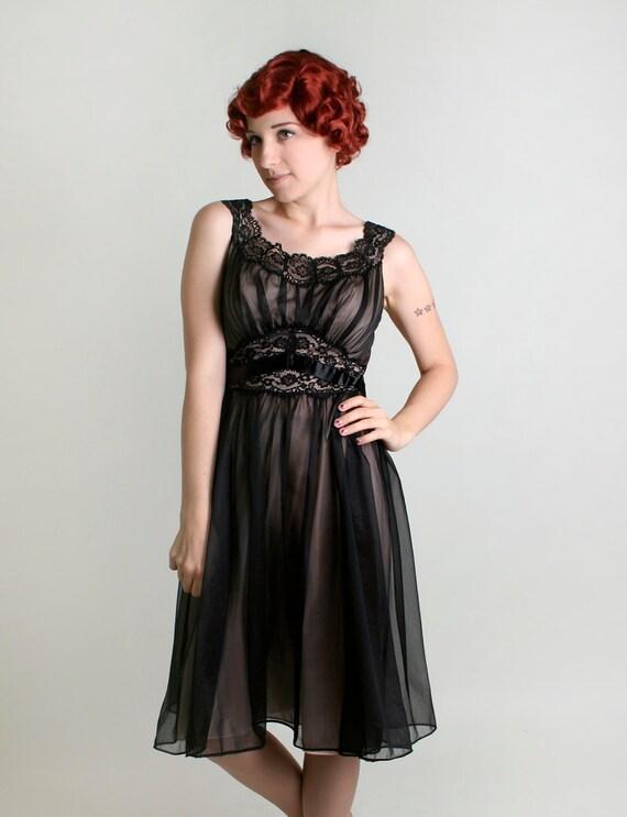 Vintage 1960s Nightgown by Vanity Fair - Sheer Black Slip Dolly Dress - Medium