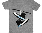 Brooklyn Converse - Unisex V-Neck T-shirt Indie Hipster Geek Laces Shoes BK BKLYN NYC Tee New York Shirt Athletic Gray VNeck T-shirt