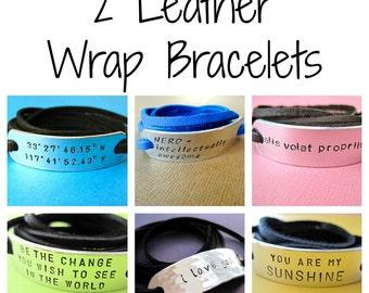 Personalized Bracelets - Custom Bracelets - Set of 2 Wrap Bracelets