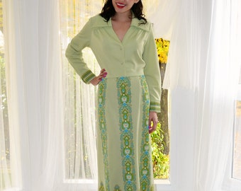 Alfred Shaheen Vintage 70s Maxi Dress Exotic Floral Screenprint  M Green Gold Turquoise