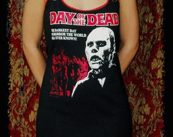Day of the Dead Shirt Horror movie mini dress halloween top zombie clothing alternative apparel reconstructed altered tee t-shirt gothic