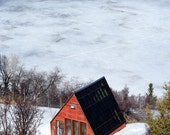 Lake Cabin Photography, Winter Scene, Colorado Wall Art, Cabin Decor, Vacation Getaway, Ski Chalet, Red House, Cozy Decor