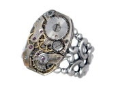 Steampunk Unisex Ring with Vintage Watch Movement and Thick Antiqued Silver Band by Velvet Mechanism