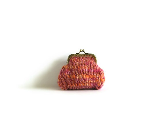 Tweed Pink Coin Purse Knitted in Soft Wool Blend