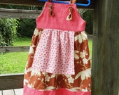 Fall Girls Apron Knot Dress Sizes newborn to 2 3 4 5 6 7 8 - Amievoltaire