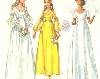 70s Empire Wedding Dress Pattern Simplicity 9260 - Juliet Cap / Lantern Sleeves / Scoop Neck - Bridesmaid / Evening Dress Size 14 / Bust 36