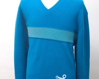 Men's Sweater / Upcycled Gap Sweater with Screen Printed Anchor / Size Large