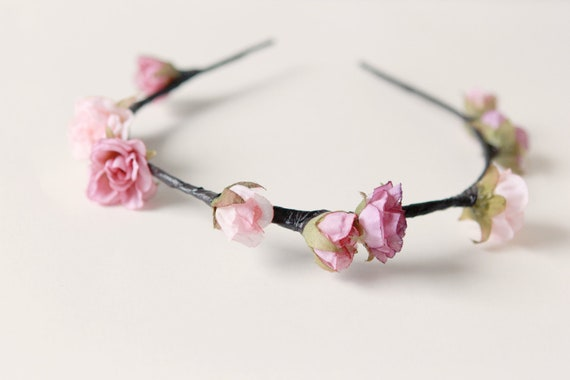 Wedding flower crown, Pink Bridal hair accessory, Floral headpiece - PARADIGM