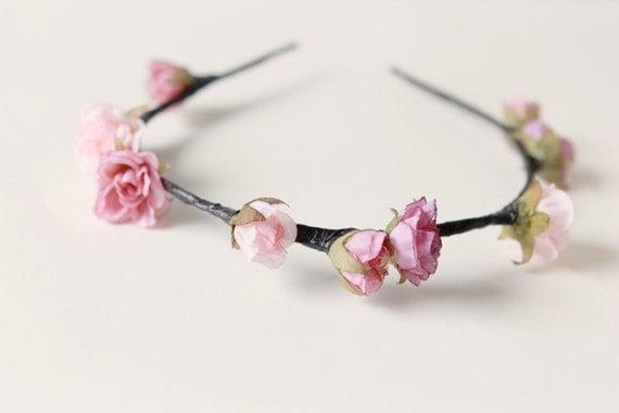Wedding flower crown, Pink Bridal hair accessory, Floral headpiece - PARADIGM