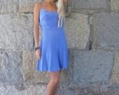 Fatima: Moroccan blue slip dress with spaghetti straps