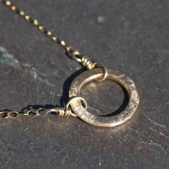 Small 14k Gold Fill Circle Necklace Pendant Maggie McMane Designs