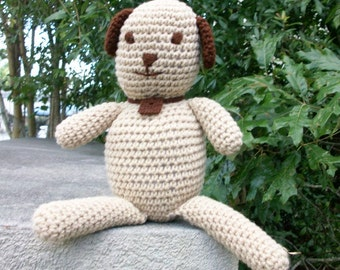 20% off SALE: Plush Toy Dog - Playful Plush Puppy - Brown & Tan Stuffed Toy Dog - Puppy Dog in Plush Crochet - Ready-to-Ship