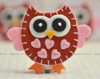 Set of 6pcs handmade felt owl--devil red (FT925)
