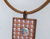Square copper bezel with resin and pearls