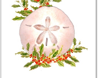 10 boxed Sand dollar Christmas cards. sand dollar. shell. 10 per boxed set. nautical Christmas cards.San Dollar watercolor painting