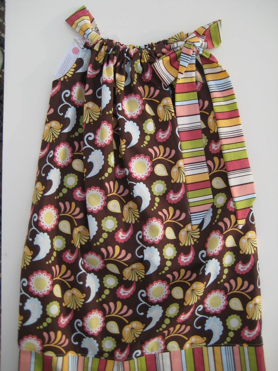 Sale Pillowcase Dress Size 8 Floral/Stripe Ready to Ship