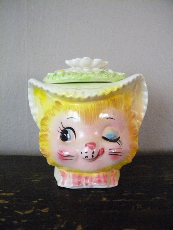 Vintage Enesco Winking Kitty Sugar Bowl