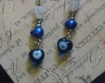 Royal Blue Pearl, Quartz and Blue Glass Beaded Dangle Earrings ~ Handmade Boho Natural Stone Fashion Jewelry
