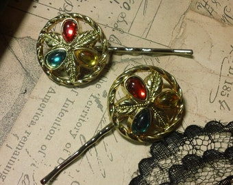 Cherlynn- vintage red yellow and green goldtone button Bobby pins
