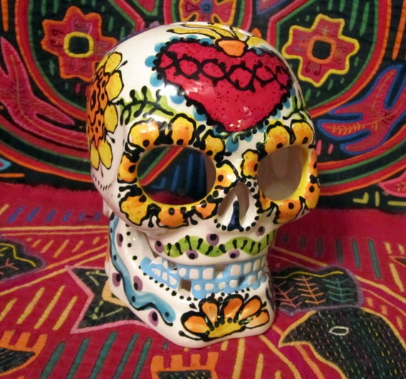 Blue Tooth Sugar Skull Candle Luminaria for Day of the Dead