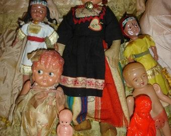 7 Fantastic Vintage Celluloid  Dolls