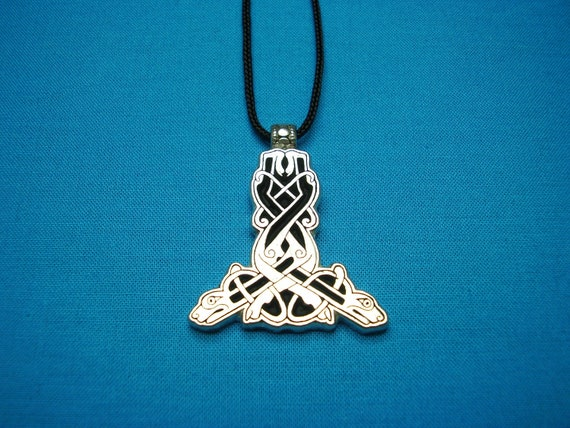 Celtic Dogs Intertwined in Silver Pewter, Thor's Hammer, Small, Necklace, Pendant, STK004